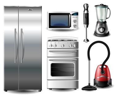 Ein Bild mit Kühlschrank, Backofen, Mikrowelle und weiteren Haushaltsgeräten.