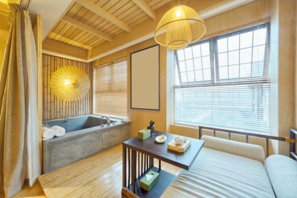 Badewanne aus Beton in einem modernen Badezimmer