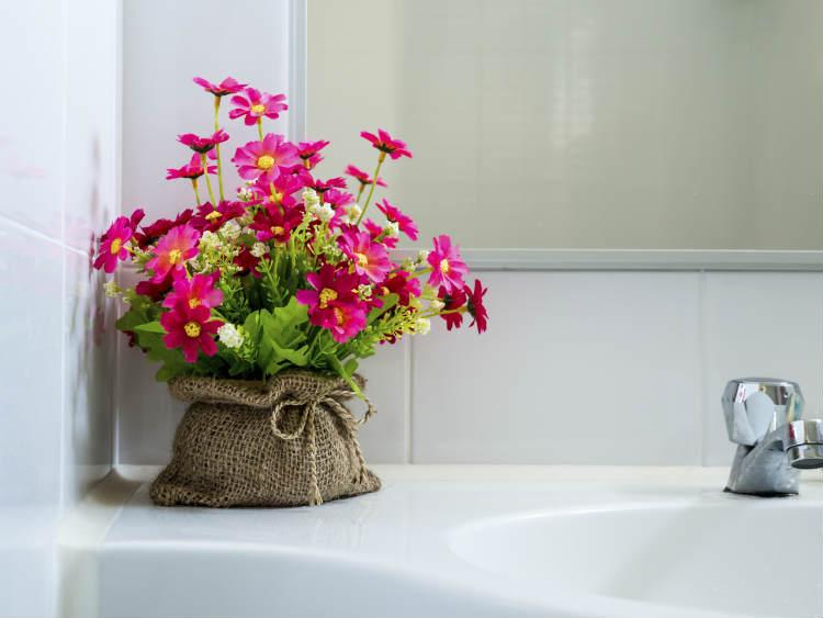 Blumentopf neben dem Waschbecken