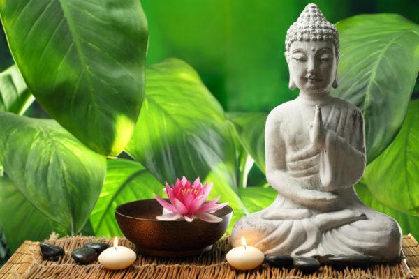 Sitzende Buddha Figur vor grünem Blätter-Hintergrund