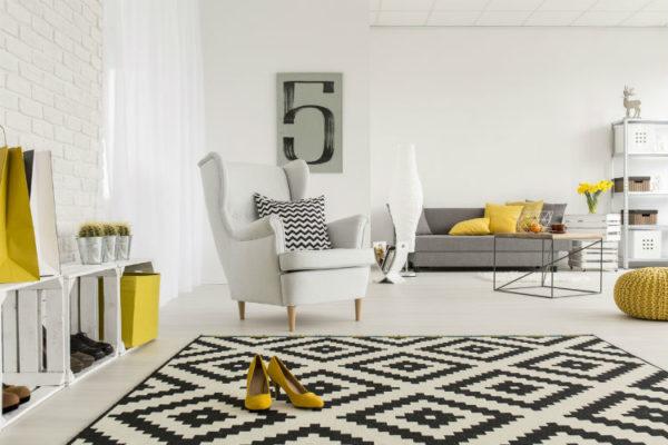 eleganter Wohnbereich mit stilvollem Design Teppich