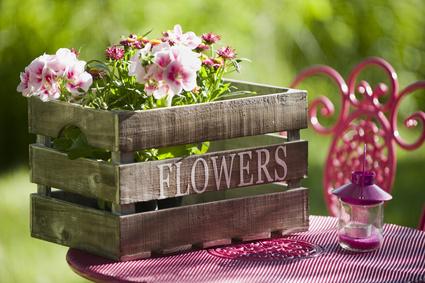Flowers-Holzkiste mit pinker Deko