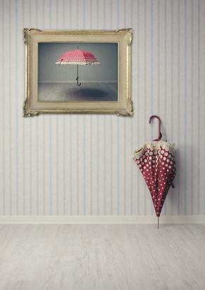 Bilderrahmen mit Schirm