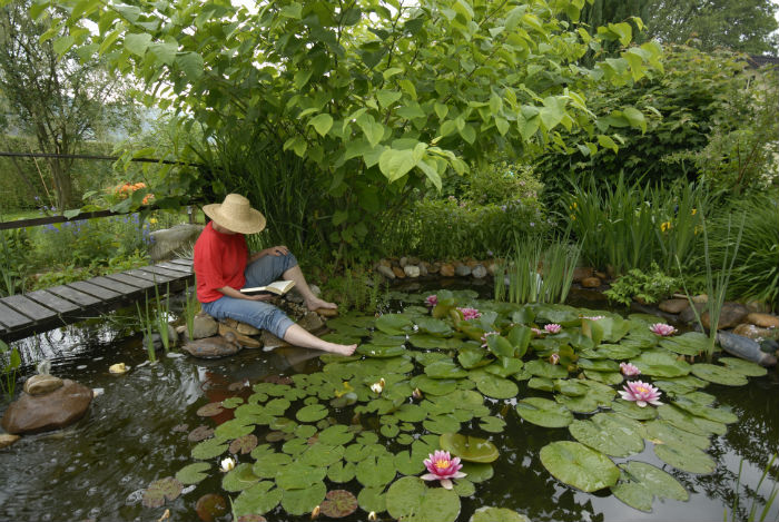 Frau sitzt auf dem Steg ihres Gartenteichs