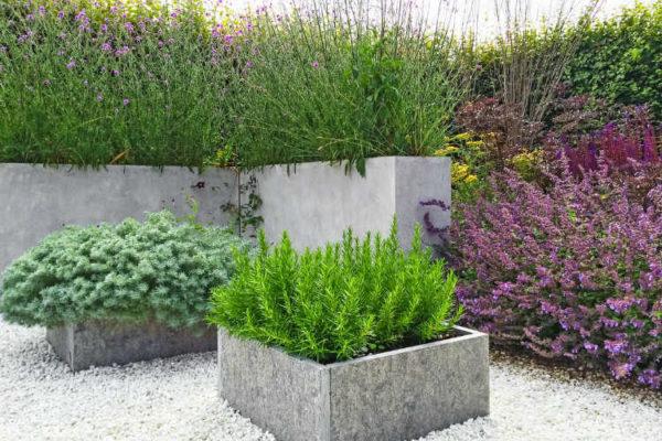 Schöner Garten mit modernem Gestaltung mit eckigen Blumenkübeln