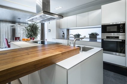 Moderne Küche in Weiß und Edelstahloptik