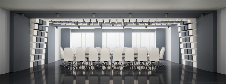 Moderner Büroraum mit Cube Lampen