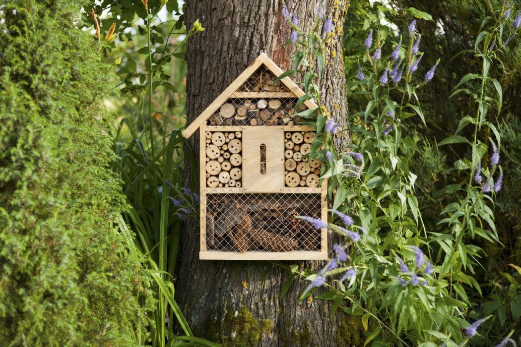 Insektenhotel hängt in einem garten am Baum