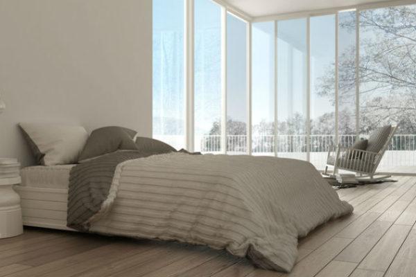 Warmes Bett in winterlicher Umgebung