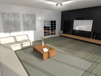 Ein modernes Wohnzimmer mit Schiebetür.