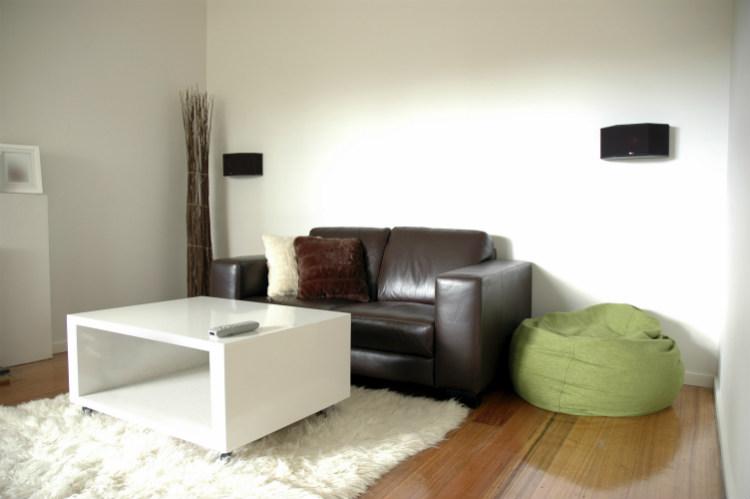 Wohnzimmer mit Flokati Teppich