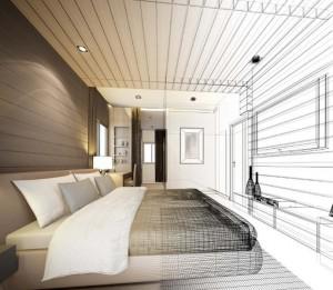 Schemenhafte Darstellung eines Schlafzimmers mit einem Boxspringbett.