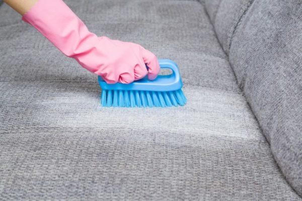 Sofa welches mit einer Bürste gereinigt wird