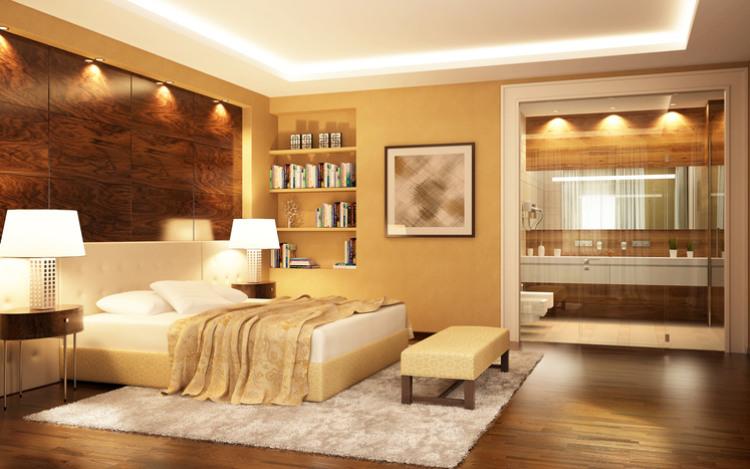Königliches gut beleuchtetes Schlafzimmer