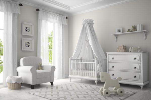 Klassisches Kinderzimmer, weiß möbliert