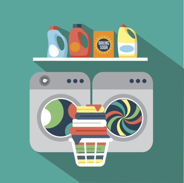 Wäscheraum farbig gezeichnet