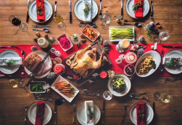 Tischdeko zu Weihnachten von oben