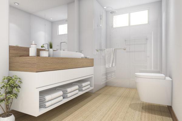 Badezimmerentwurf mit Holzelementen