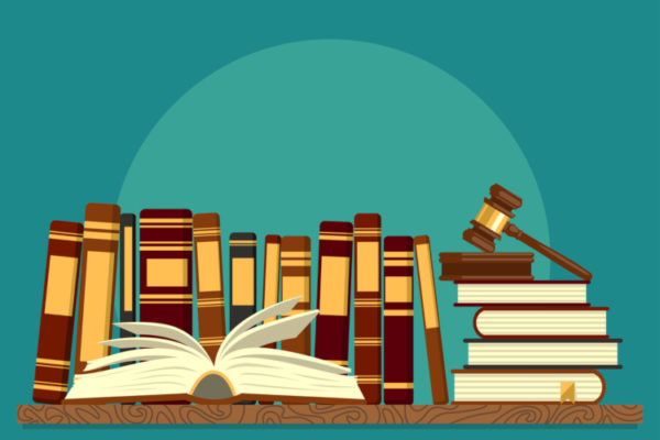 Bücher vor einem grünen Hintergrund