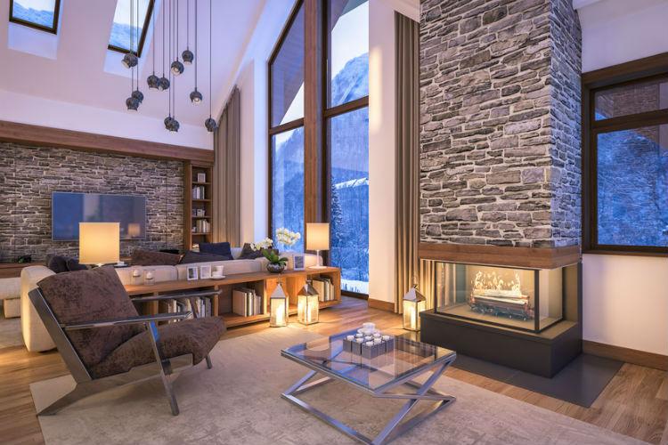 stimmungsvoll beleuchtetes Wohnzimmer