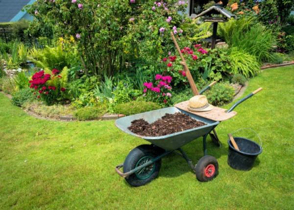 Schubkarre voll Erde in Garten